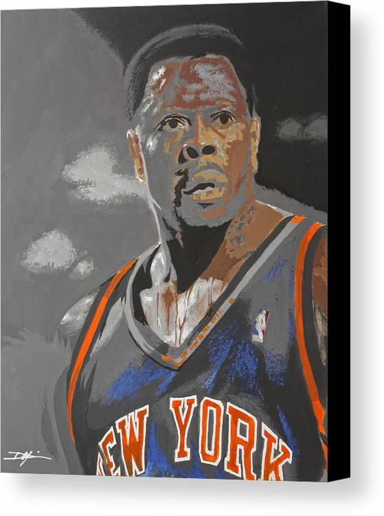 New York Knicks Canvas Print featuring the drawing Ewing by Don Medina