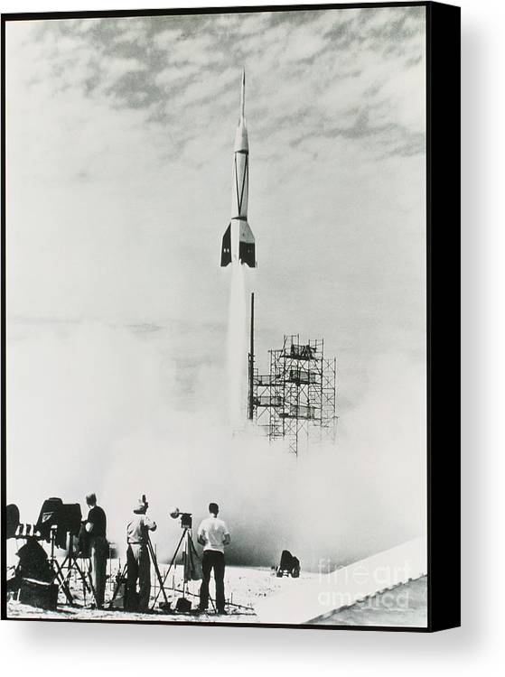 V2 Rocket Canvas Print featuring the photograph First Cape Canaveral Rocket Launch by NASA Science Source