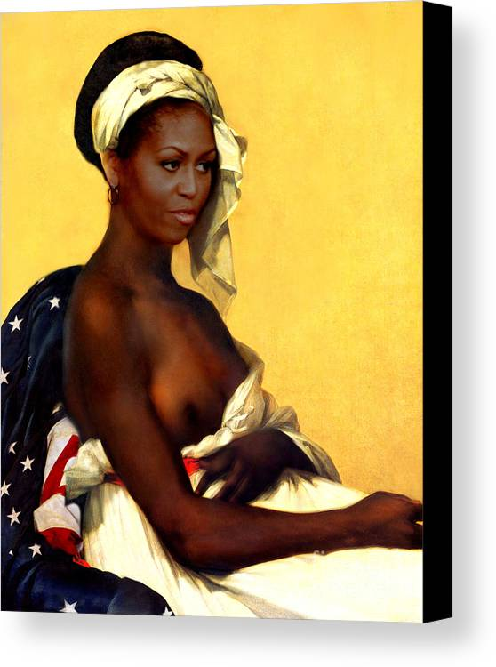 Michelle Obama Canvas Print featuring the painting First Lady by Karine Percheron-Daniels