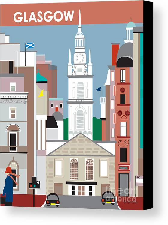 Glasgow Canvas Print featuring the digital art Glasgow by Karen Young