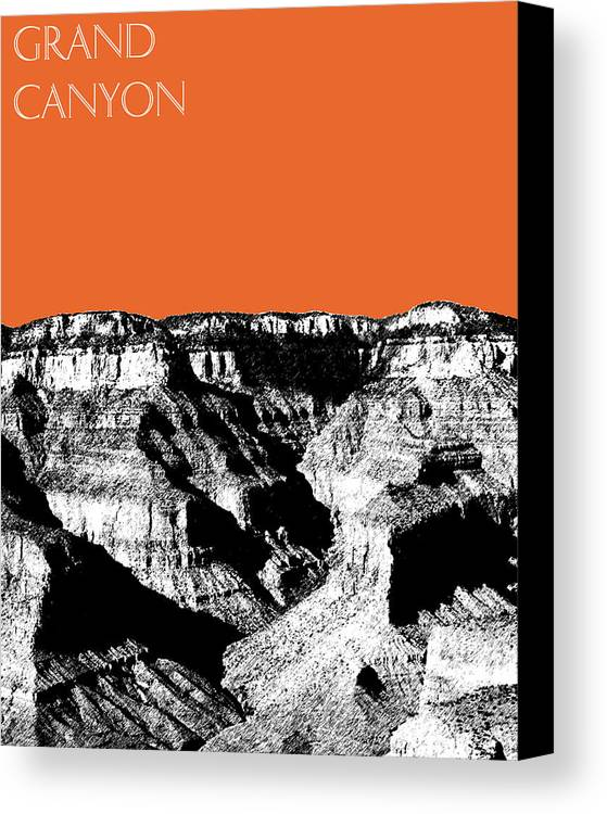 Pen And Ink Canvas Print featuring the digital art Grand Canyon - Coral by DB Artist