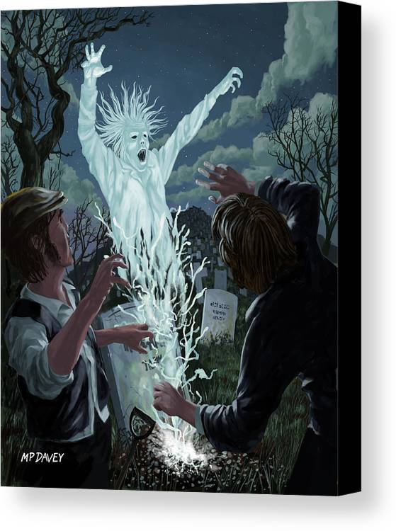 Graveyard Canvas Print featuring the painting Graveyard Digger Ghost Rising From Grave by Martin Davey