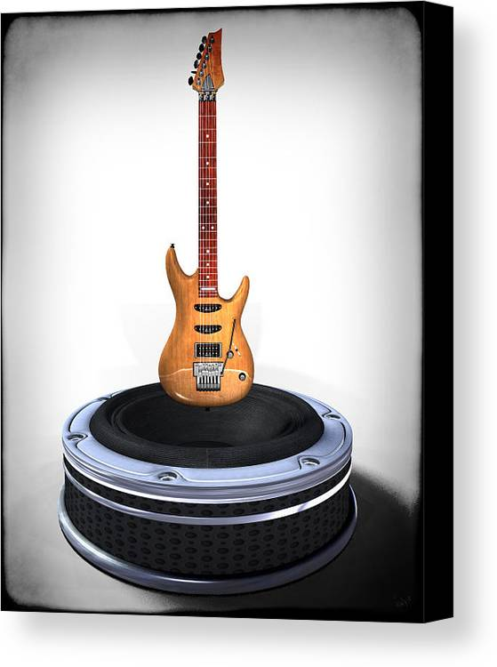 Music Canvas Print featuring the digital art Guitar Desplay V1 by Frederico Borges
