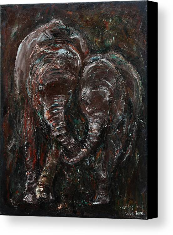 Elephants Canvas Print featuring the painting Hand In Hand by Xueling Zou