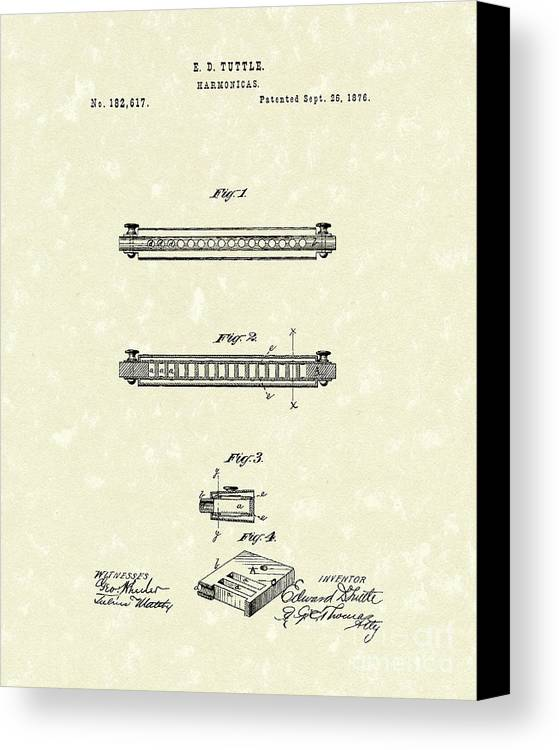 Tuttle Canvas Print featuring the drawing Harmonica 1876 Patent Art by Prior Art Design