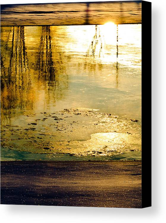 Abstract Canvas Print featuring the photograph Ice On The River by Bob Orsillo