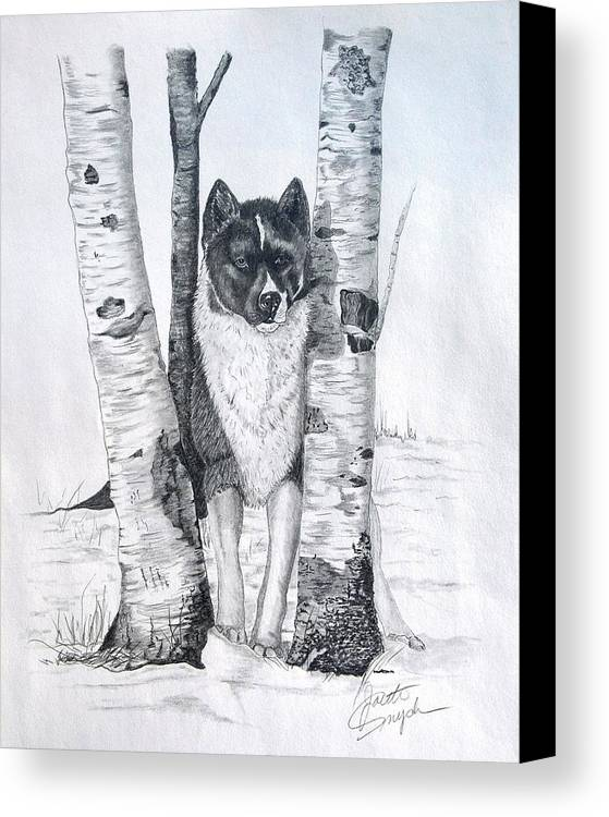 Dog Prints Canvas Print featuring the drawing Ihasa In The Woods by Joette Snyder