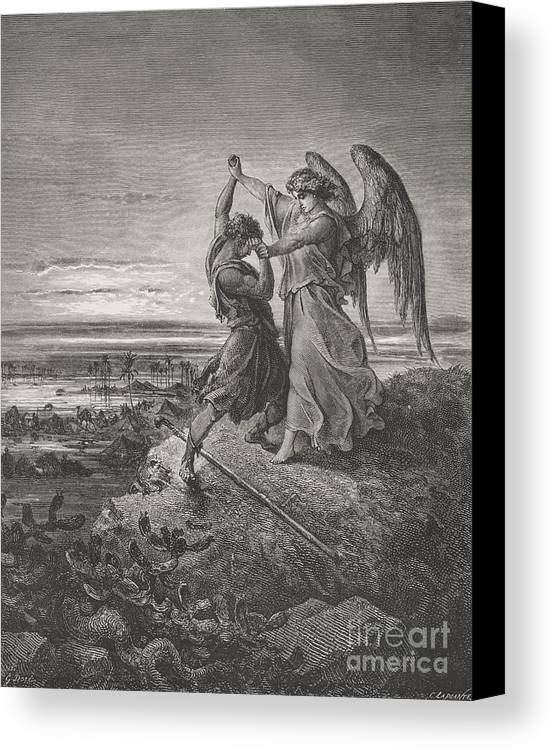 Wrestle Canvas Print featuring the painting Jacob Wrestling With The Angel by Gustave Dore