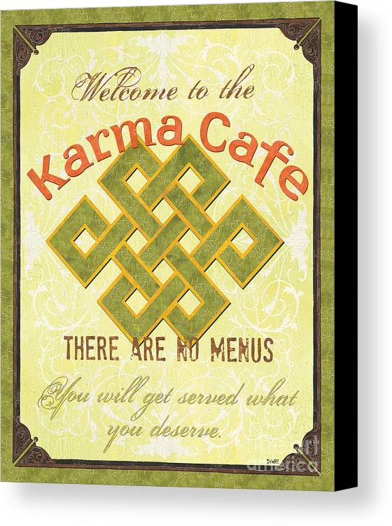 Karma Canvas Print featuring the painting Karma Cafe by Debbie DeWitt