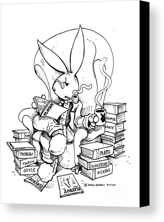 Playboy Canvas Print featuring the drawing Literary Playboy by John Ashton Golden