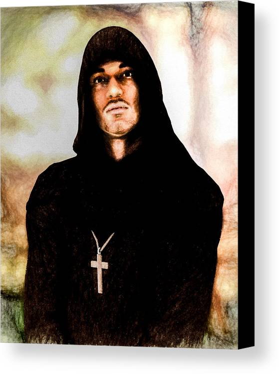 Priest Canvas Print featuring the painting Man Of Peace by Bob Orsillo