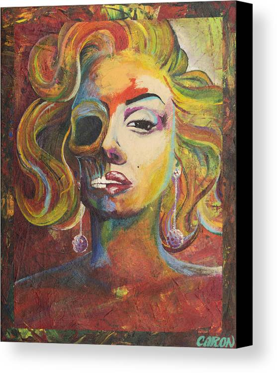 Michael Caron Canvas Print featuring the painting Marilyn Monroe by Mike Caron