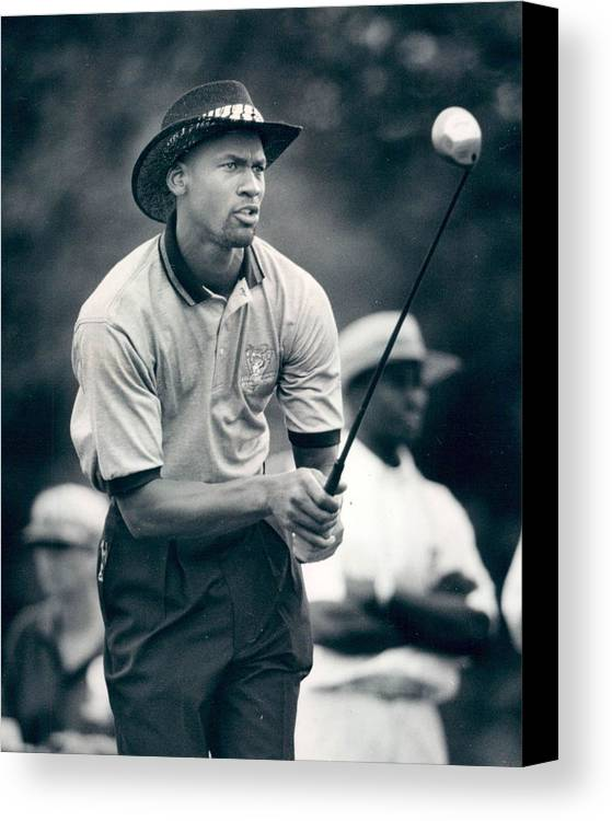 Classic Canvas Print featuring the photograph Michael Jordan Looks At Golf Shot by Retro Images Archive