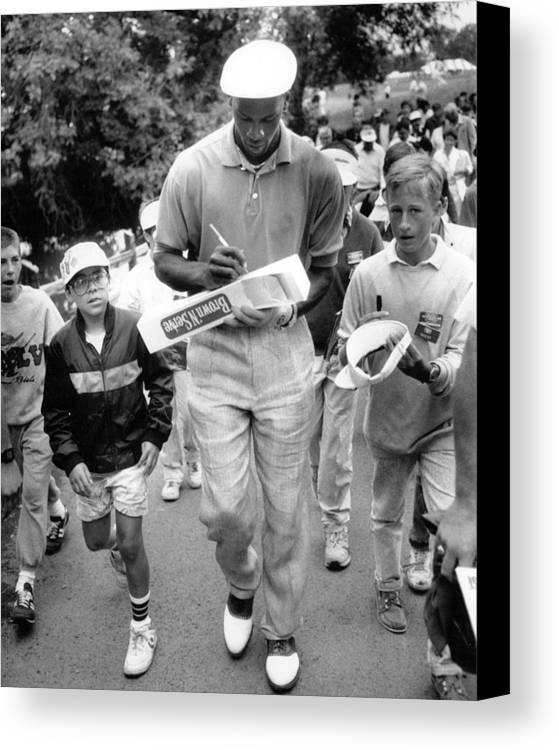 Classic Canvas Print featuring the photograph Michael Jordan Signing Autographs by Retro Images Archive