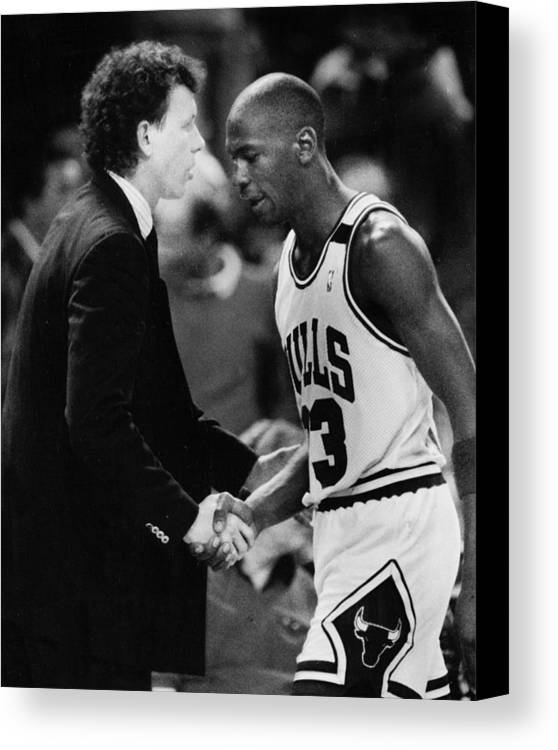 Classic Canvas Print featuring the photograph Michael Jordan Talks With Coach by Retro Images Archive