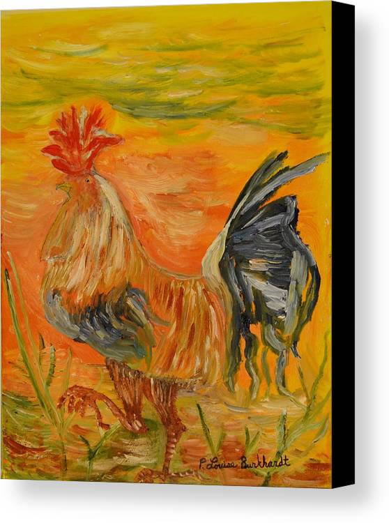 Chicken Canvas Print featuring the painting Morning Stroll by Louise Burkhardt