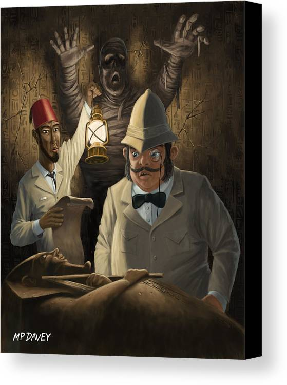 Egyptian Canvas Print featuring the painting Mummy Awake by Martin Davey