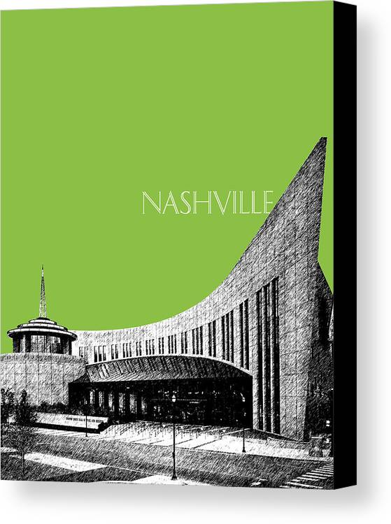Architecture Canvas Print featuring the digital art Nashville Skyline Country Music Hall Of Fame - Olive by DB Artist