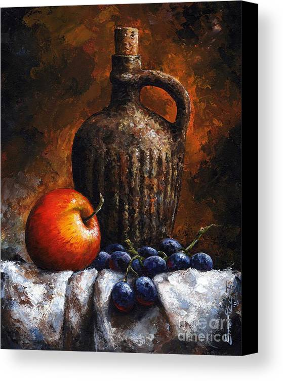 Still Life Canvas Print featuring the painting Old Bottle And Fruit by Emerico Imre Toth