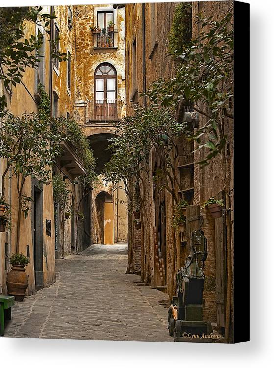 Orvieto Canvas Print featuring the photograph Orvieto Side Street by Lynn Andrews