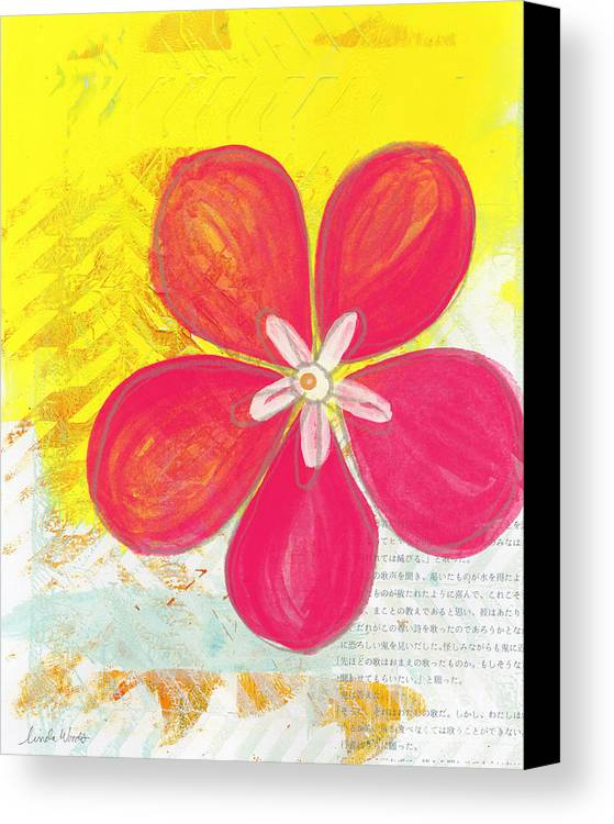 Flower Canvas Print featuring the painting Pink Cherry Blossom by Linda Woods