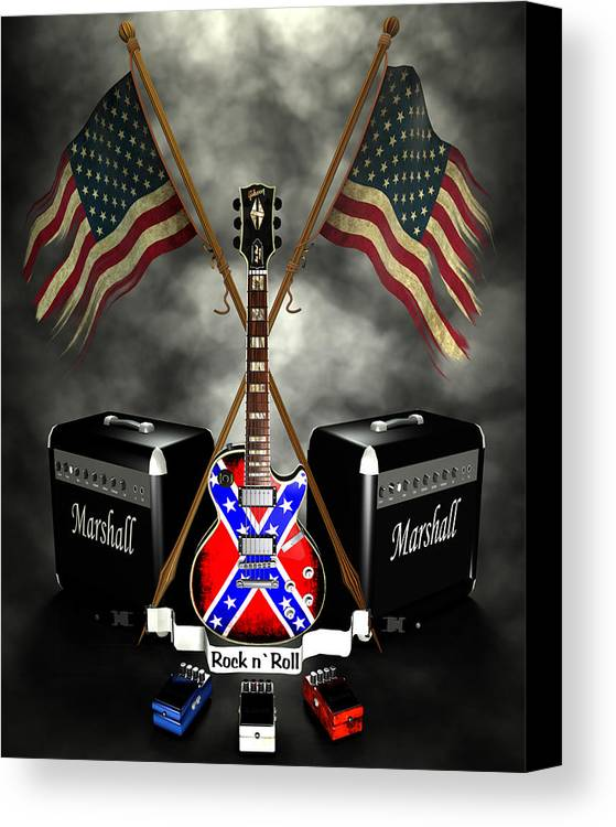 Usa Canvas Print featuring the digital art Rock N Roll Crest- Usa by Frederico Borges