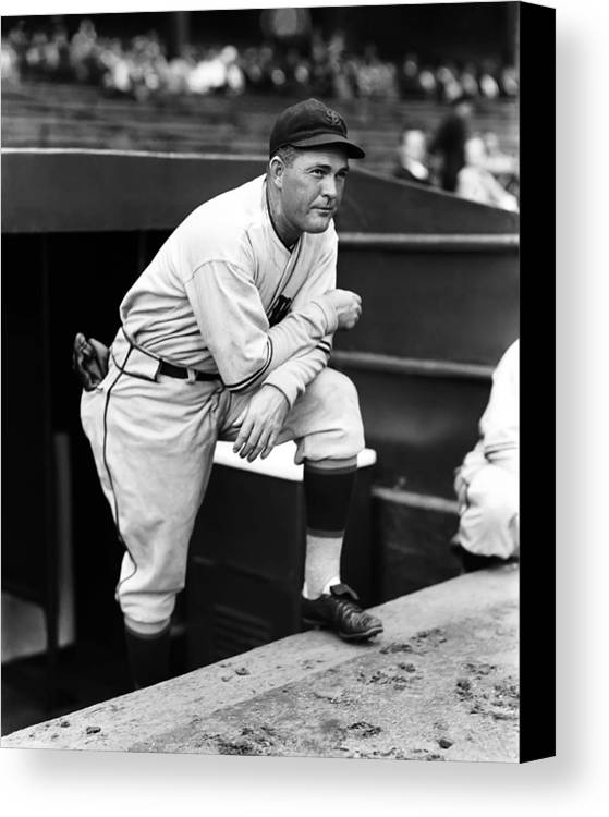 Retro Images Archive Canvas Print featuring the photograph Rogers Hornsby Leaning On One Knee by Retro Images Archive