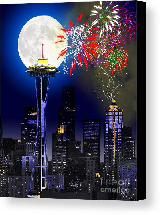 Seattle Skyline Canvas Print featuring the painting Seattle Skyline by Methune Hively