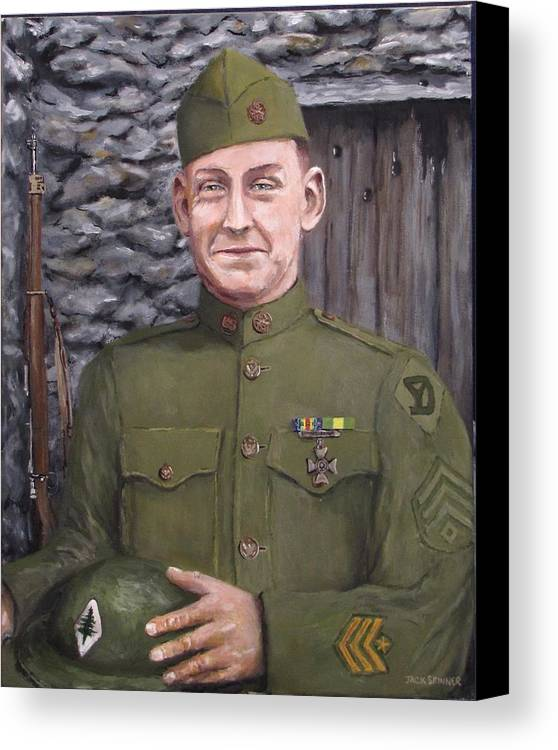 Sgt Sam Avery Canvas Print featuring the painting Sgt Sam Avery by Jack Skinner