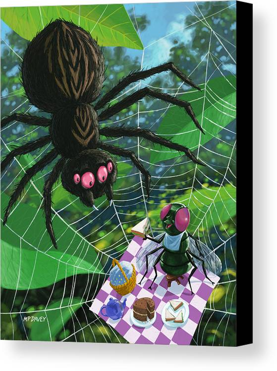 Picnic Canvas Print featuring the painting Spider Picnic by Martin Davey