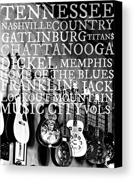 Tennessee Art Canvas Print featuring the photograph Tennessee Words Sign by Chastity Hoff