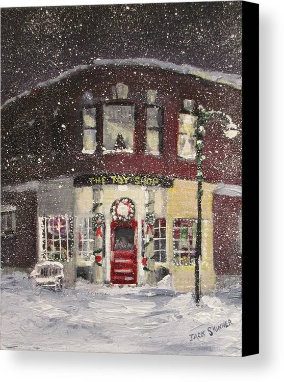 Christmas Canvas Print featuring the painting The Toy Shop by Jack Skinner