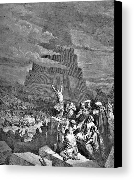 Tower Of Babel Canvas Print featuring the drawing Tower Of Babel Bible Illustration by