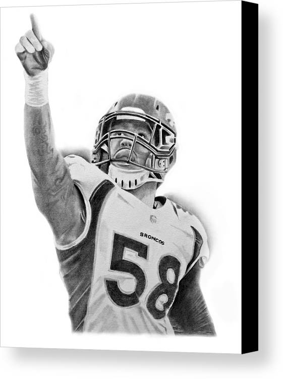 Nfl Canvas Print featuring the drawing Von Miller by Don Medina