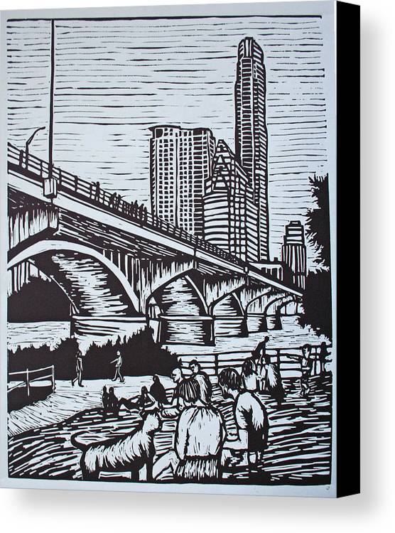 Austin. Bats Canvas Print featuring the drawing Waiting For The Bats by William Cauthern
