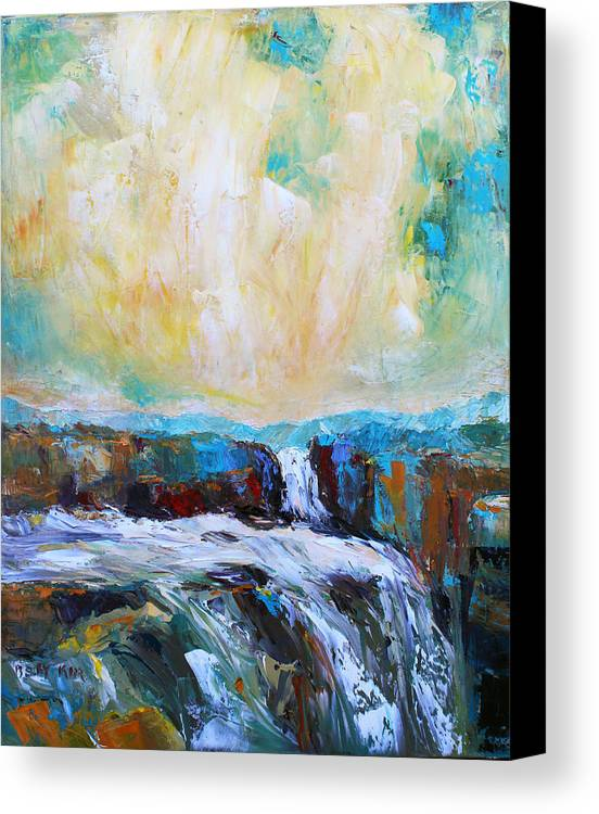 Landscape. Oil Canvas Print featuring the painting Waterfalls 2 by Becky Kim