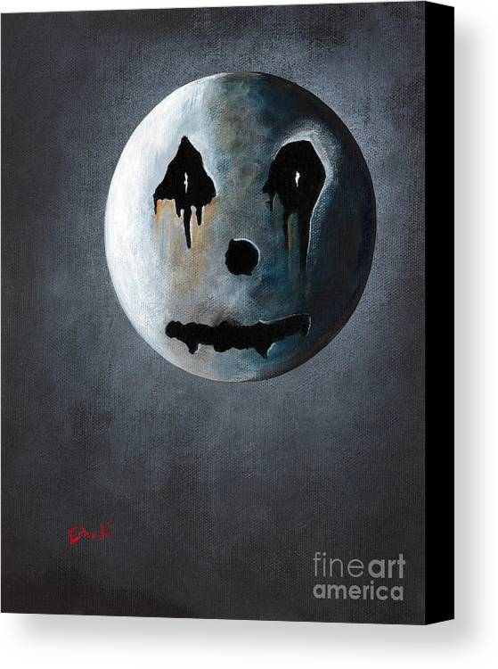 Moon Canvas Print featuring the painting What It's Like Without You - Gothic By Shawna Erback by Shawna Erback