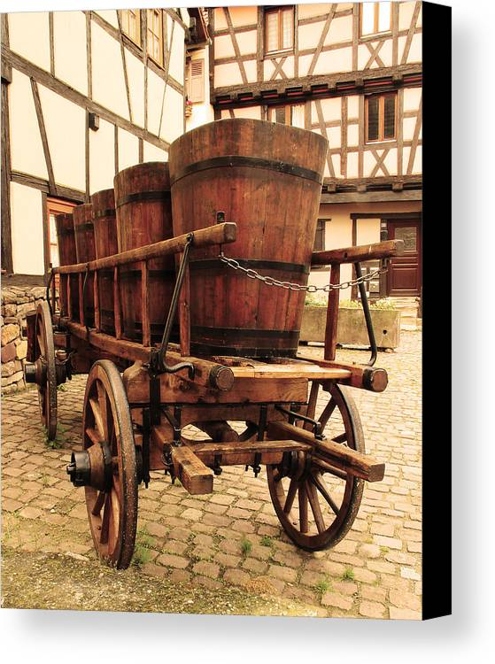 Wine Cart Canvas Print featuring the photograph Wine Cart In Alsace France by Greg Matchick