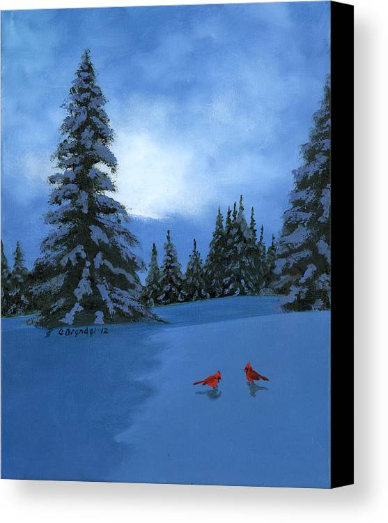 Winter Snow Christmas Card Oil Painting Original Cecilia Brendel Canvas Cardinals Holiday Greetings Cards Ever Greens Forest Trees Snowy Snow Night Mountains Smokey Canvas Print featuring the painting Winter Christmas Card 2012 by Cecilia Brendel