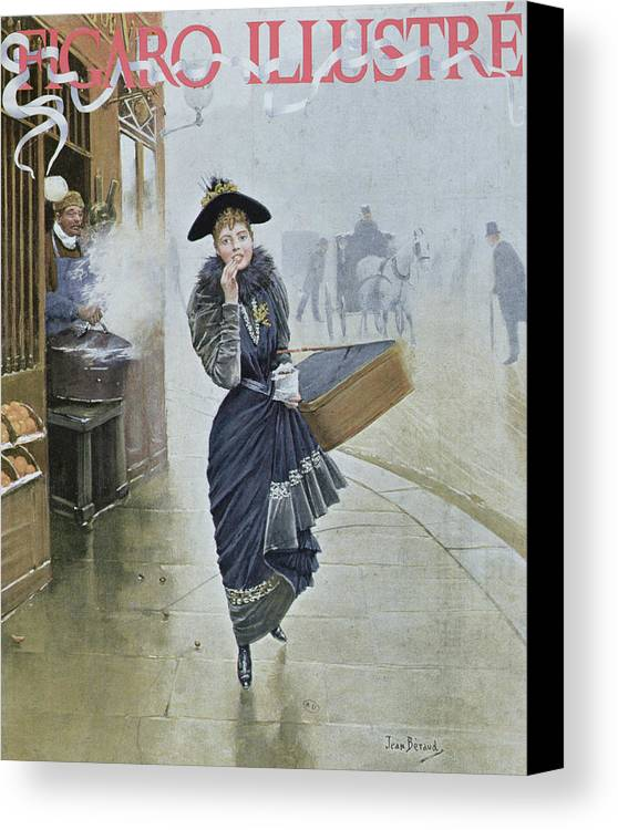 Street Scene Canvas Print featuring the painting Young Parisian Hatmaker by Jean Beraud