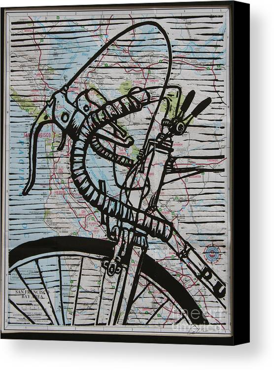 Print Canvas Print featuring the drawing Bike 2 On Map by William Cauthern