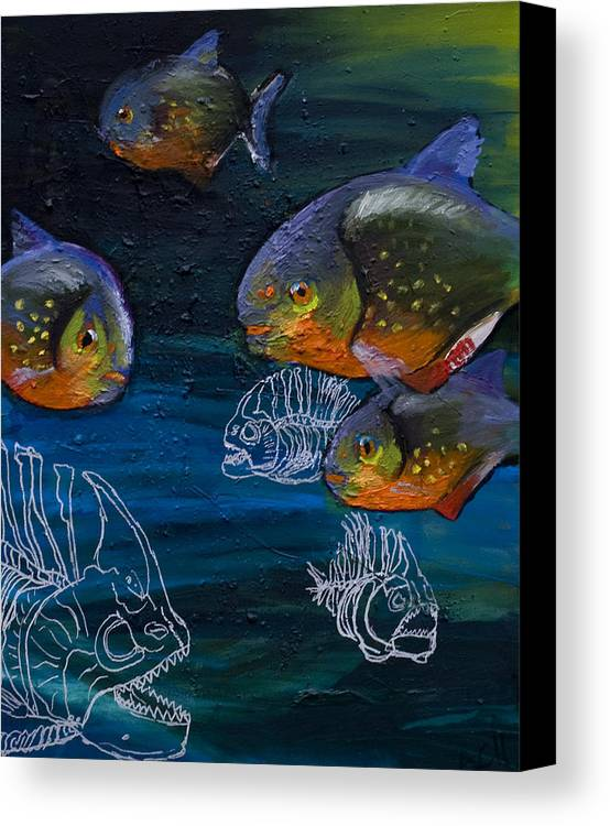 Fish Canvas Print featuring the painting Ambiguity by Anthony Cavins