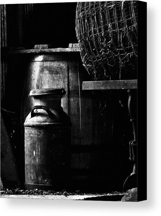 Antique Canvas Print featuring the photograph Barrel In The Barn by Jim Finch