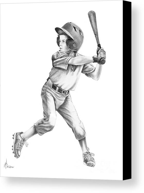 Drawing Canvas Print featuring the drawing Baseball Kid by Murphy Elliott
