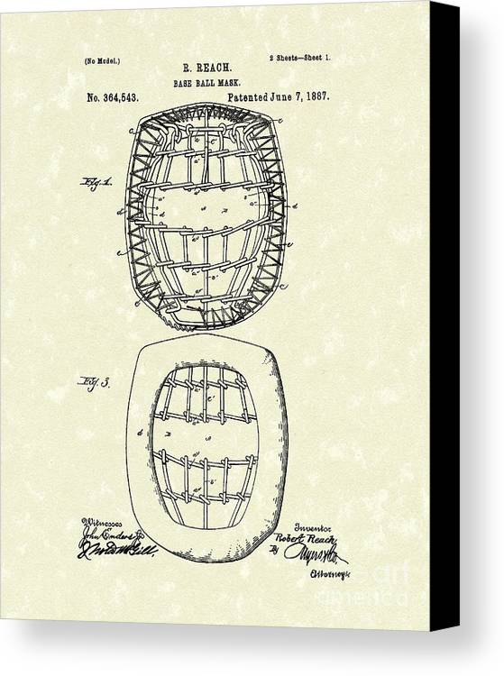 Baseball Canvas Print featuring the drawing Baseball Mask 1887 Patent Art by Prior Art Design