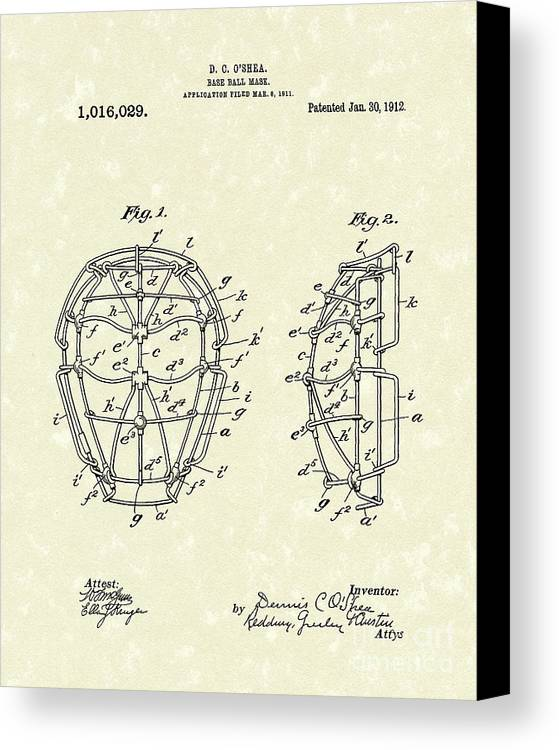 Baseball Canvas Print featuring the drawing Baseball Mask 1912 Patent Art by Prior Art Design