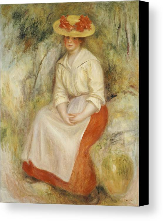 Impressionist; Impressionism; Portrait; Female; Seated; Sitting; Full Length Canvas Print featuring the painting Gabrielle In A Straw Hat by Pierre Auguste Renoir