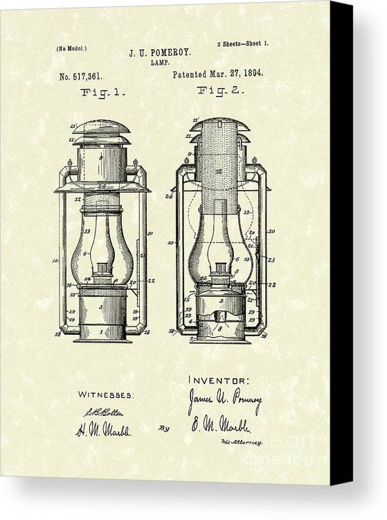 Lamp Canvas Print featuring the drawing Lamp Pomeroy 1894 Patent Art by Prior Art Design