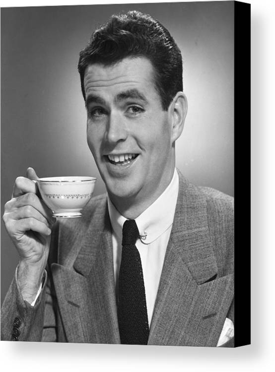 Adult Canvas Print featuring the photograph Man Drinking Coffee by George Marks