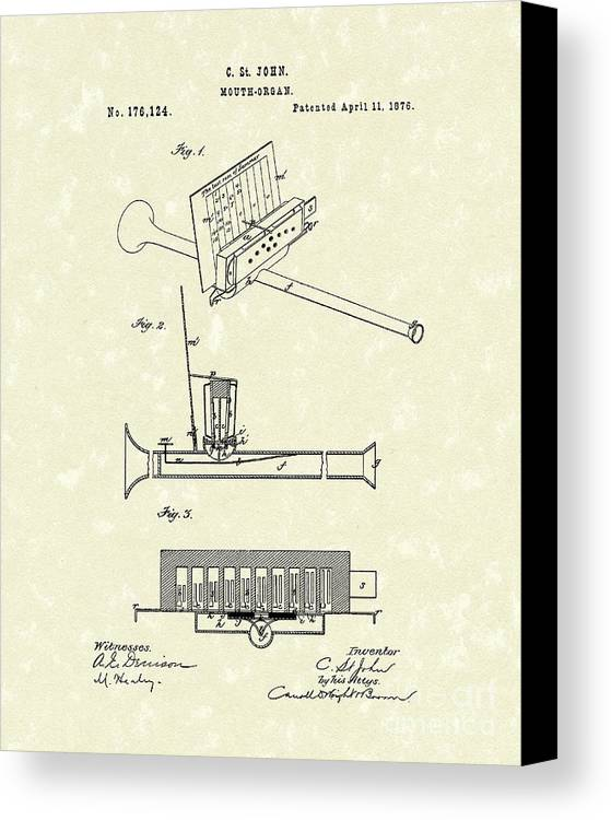 John Canvas Print featuring the drawing Mouth Organ 1876 Patent Art by Prior Art Design